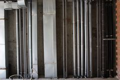 Water, heating, sewage and ventilation pipes Royalty Free Stock Photo
