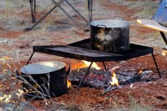 Water heats on the campfire Royalty Free Stock Photos