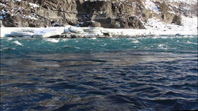 Water high of on the river in the early spring, Katun River, Altai. Russia stock video
