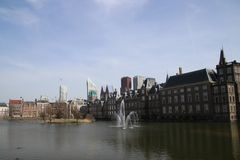Water at the Hofvijver, a pool at the parliament building complex named the Binnenhof in Den Haag.  stock images