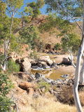 Water hole along the rim walk in the dry Ormiston Pound Royalty Free Stock Photo