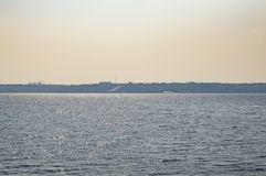 Water horizon - the river Dnepr Ukraine. Water horizon on the river - the river Dnieper Ukraine royalty free stock photos