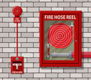 Water hose in cabinet and alarm system. Water hose to extinguish the fire in cabinet and alarm system at brick wall. Fire equipment. Vector illustration in flat Royalty Free Stock Images