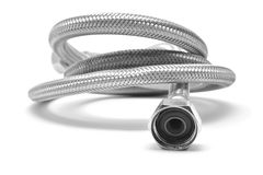 Water hose. Flexible water hose isolated on white royalty free stock images