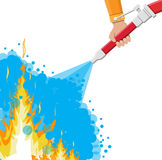 Water hose in hand to extinguish the fire. Fire equipment. Vector illustration in flat style Stock Images