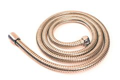 Water hose for shower on white. Water hose for shower on a white royalty free stock photo