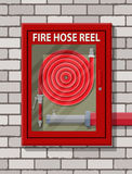 Water hose to extinguish the fire in cabinet. At brick wall. Fire equipment. Vector illustration in flat style Royalty Free Stock Photography