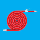 Water hose to extinguish the fire. Fire equipment. Royalty Free Stock Photos