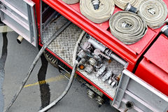 Water hoses on top of a firefighter vehicle Stock Image