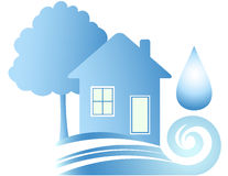 Water house. Clean ecology house, blue water and drop Stock Images