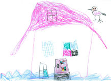 Water house. House on the water - original kid's drawing Royalty Free Stock Images
