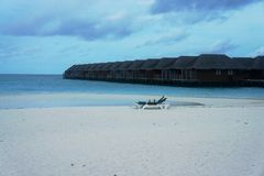 Water house at Meeru island Royalty Free Stock Photos