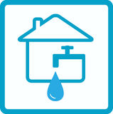 Water in house with silhouette of faucet Royalty Free Stock Photos
