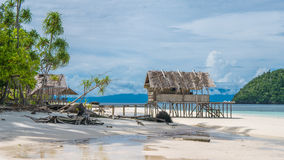 Water Hut of Homestay on Kri Island. Raja Ampat, Indonesia, West Papua.  Royalty Free Stock Image