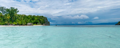Water Hut of Homestay on Kri Island. Raja Ampat, Indonesia, West Papua. Wide Royalty Free Stock Photography