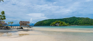 Water Hut of Homestay on Kri Island. Raja Ampat, Indonesia, West Papua. Wide Royalty Free Stock Images