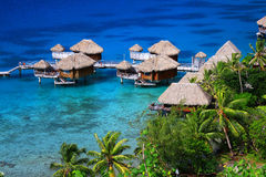 Water huts in Bora Bora Stock Photography