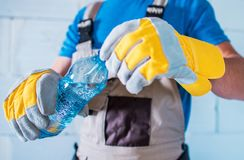Water Hydrating While Working. Water Hydrating While Hard Working. Body Hydrating Concept Photo Royalty Free Stock Photography