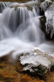 Water and ice. Waterfall and rocks with ice and snow Royalty Free Stock Photography