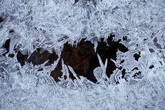Water ice crystals. And black water Royalty Free Stock Photo