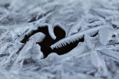 Water ice crystals and black water.  Royalty Free Stock Images