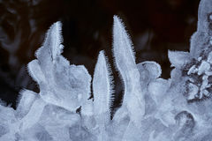 Water ice crystals and black water.  Royalty Free Stock Photo