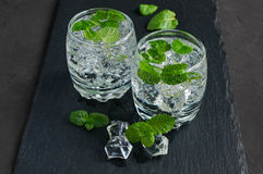 Water with ice cube and mint Stock Photos