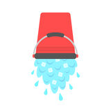 Water with ice cubes pouring from red bucket. Concept of ice bucket challenge. isolated on white background. flat style design modern vector illustration Stock Images