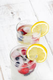 Water with  ice cubes - a refreshing drink. Mineral water with fruit frozen in ice cubes - a refreshing drink Royalty Free Stock Photography
