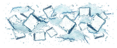 Water and ice cubes splash Stock Photo