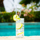 Water with ice at the edge of a resort pool. Concept of luxury v Stock Images