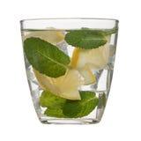 Water, ice, lemon and mint isolated on white background Stock Image