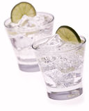 Water with ice and lime Stock Photo