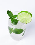 Water with ice, mint, lime Royalty Free Stock Photos