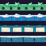 Water And Ice Platformer Level Floor Design Set Royalty Free Stock Photos