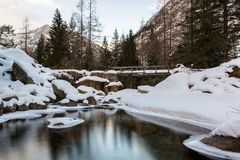Water, ice and tranquility. Beautiful quiet in mountain, ossola valley Stock Photography