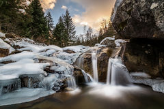 Water, ice and tranquility. Beautiful waterfall in the quiet of the mountain, ossola valley Stock Images