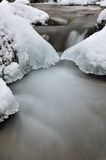 Water and ice. In winter mountain stream Royalty Free Stock Photos