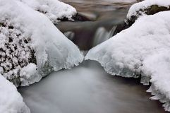 Water and ice. In winter mountain stream Stock Photos