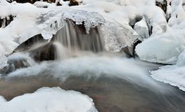 Water and ice. In winter mountain stream Stock Photo