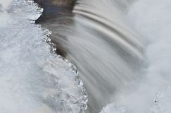 Water and ice. In winter mountain stream Royalty Free Stock Image