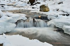 Water and ice. In winter mountain stream Stock Images