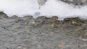 Water with ice in winter river stock footage