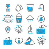 Water icon for design on white background set 1. Water icon for design with blue and grey color on white background.Water icon set for design logo,advertising Royalty Free Stock Photo