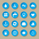 Water icon set Royalty Free Stock Photography