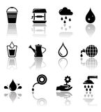 Water icon set with reflection Stock Images
