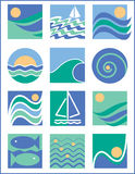 Water Icons 1. A collection of 12 logos with a water theme Royalty Free Stock Photography