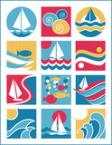 Water Icons 2. Collection #2 of twelve icons with a water-sailing theme Royalty Free Stock Images