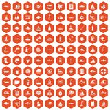 100 water icons hexagon orange. 100 water icons set in orange hexagon isolated vector illustration Royalty Free Illustration