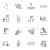 Water Icons Line. Set with faucet shower and plastic bottle isolated vector illustration royalty free illustration